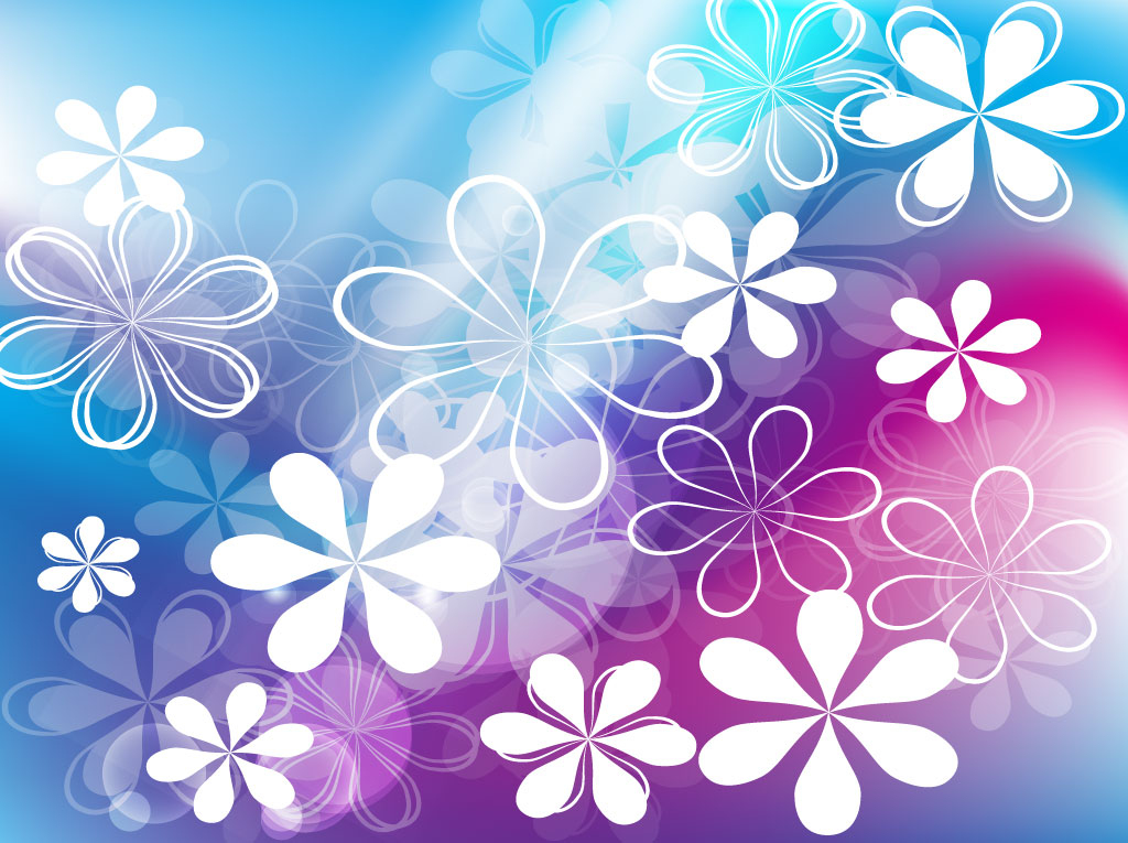 Cute Flowers Vector Background 1024x765