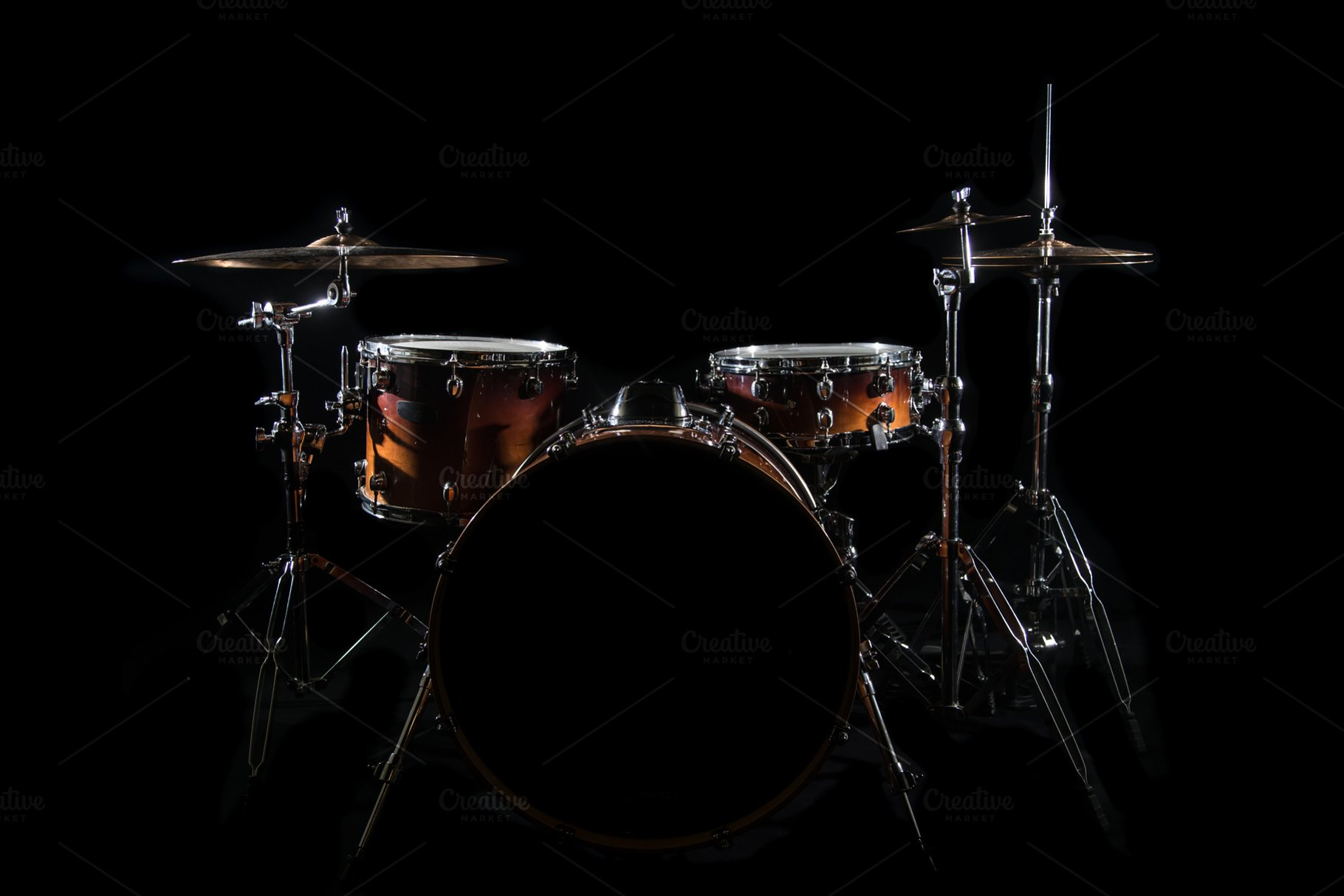 Drum Set On A Dark Background Industrial Photos Creative Market 1820x1214