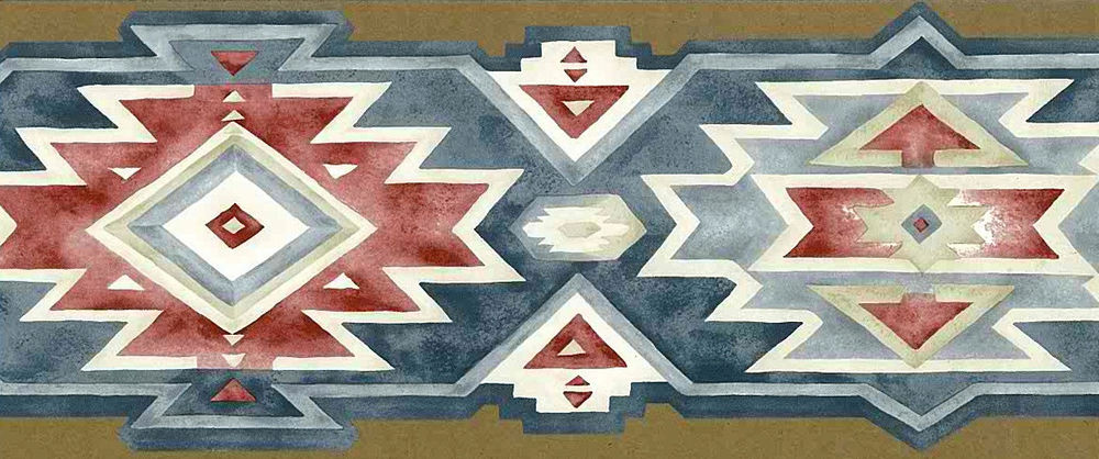 Southwest Geometric Wallpaper Border Red White Blue Blonders SD25013DB 1000x418