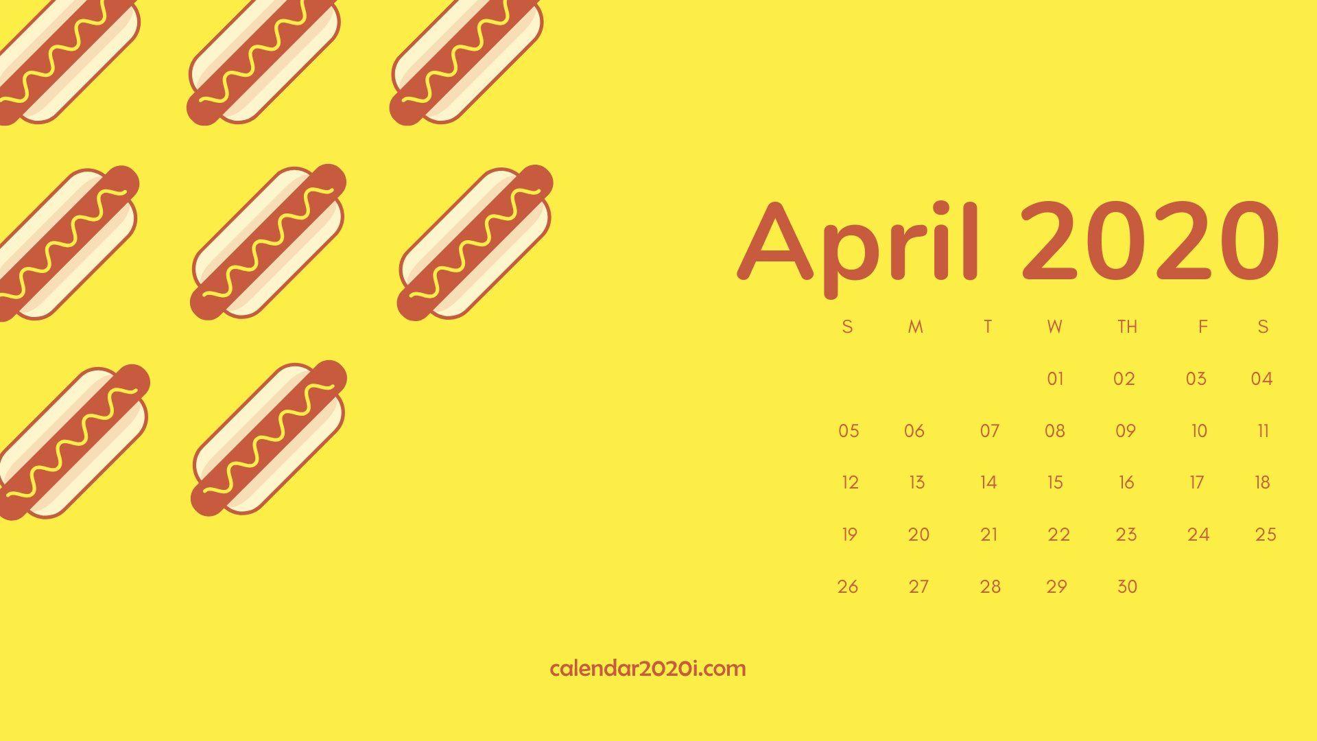 April 2020 Calendar Desktop Wallpaper Desktop calendar Calendar 1920x1080