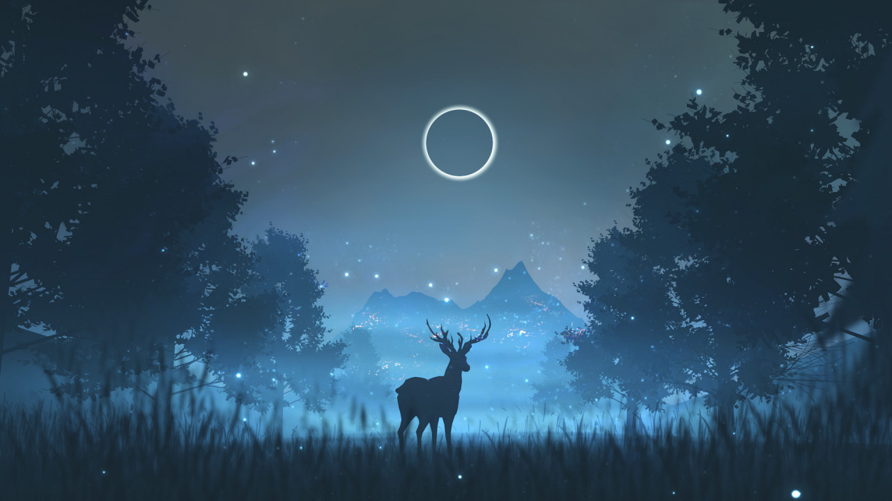 Night Starry Sky Deer Forest HD Animated wallpaper 1280x720