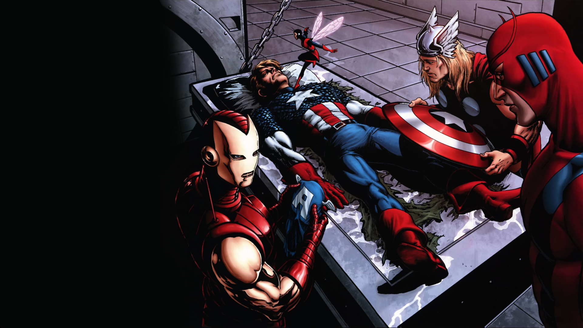 captain america being revived   captain america being revived 1920x1080