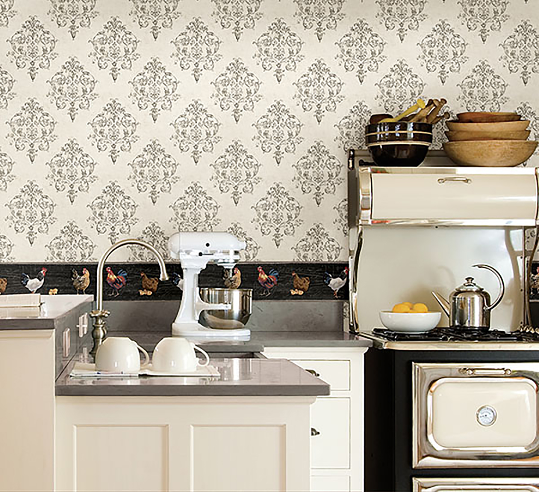 Black And White Kitchen Wallpaper Border Kitchen Design Ideas