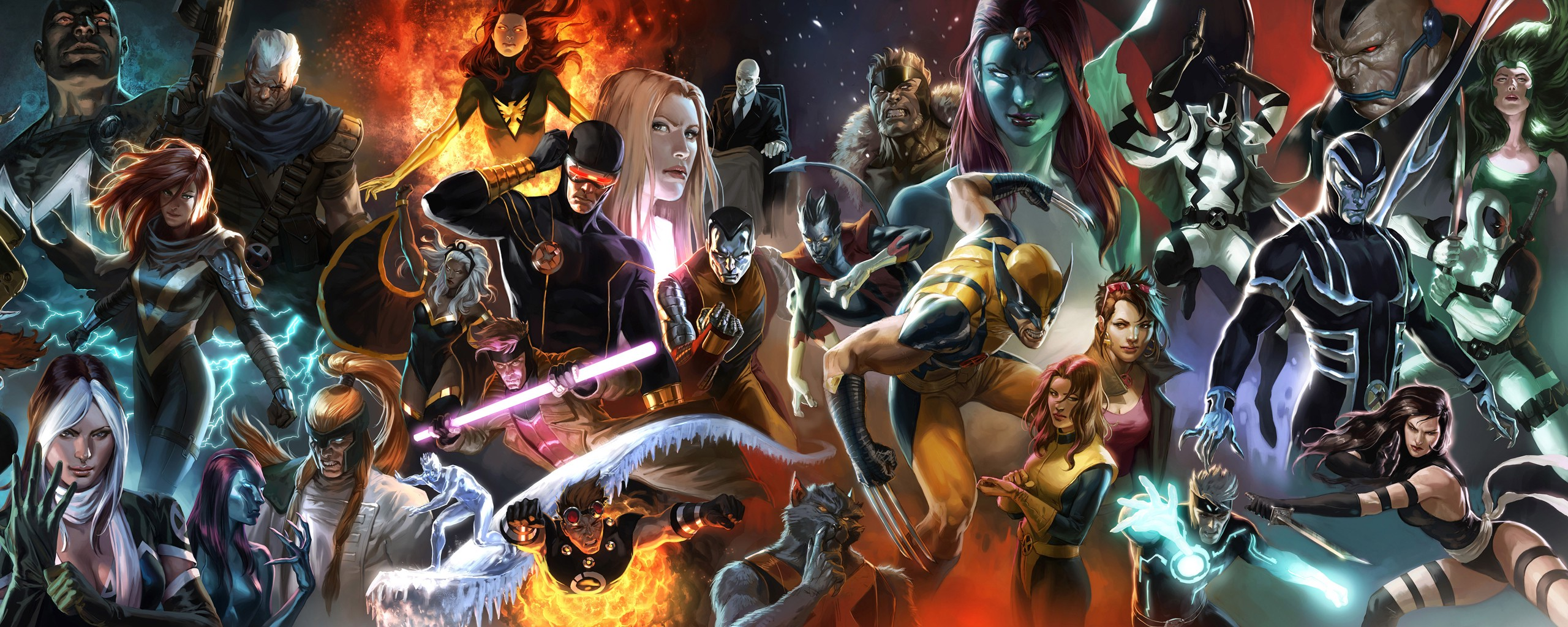 comics Marvel Comics Wolverine Cyclops Nightcrawler Beast 2560x1024