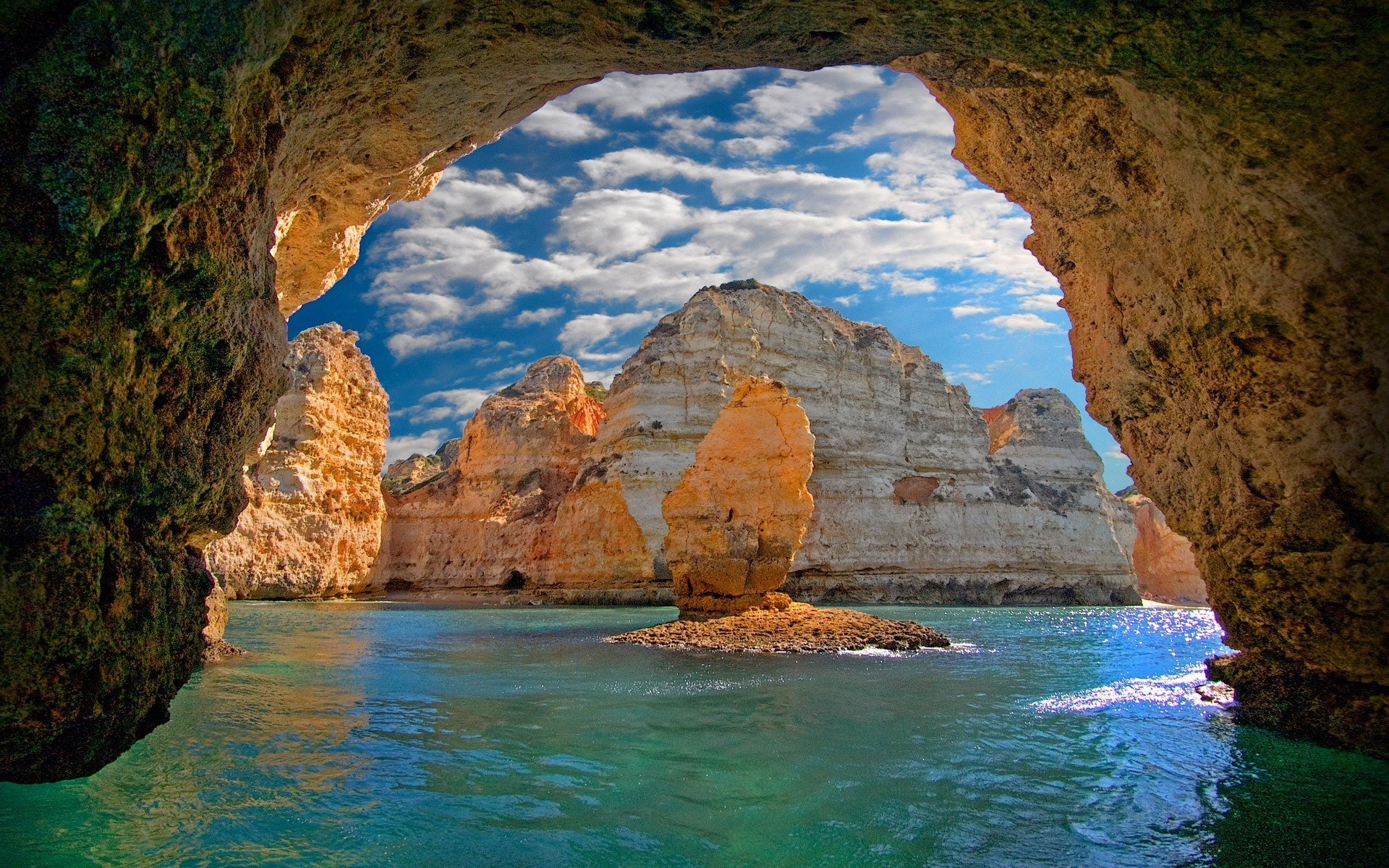 Ocean Cave in Portugal HD Wallpaper Background Image 1920x1200 1920x1200