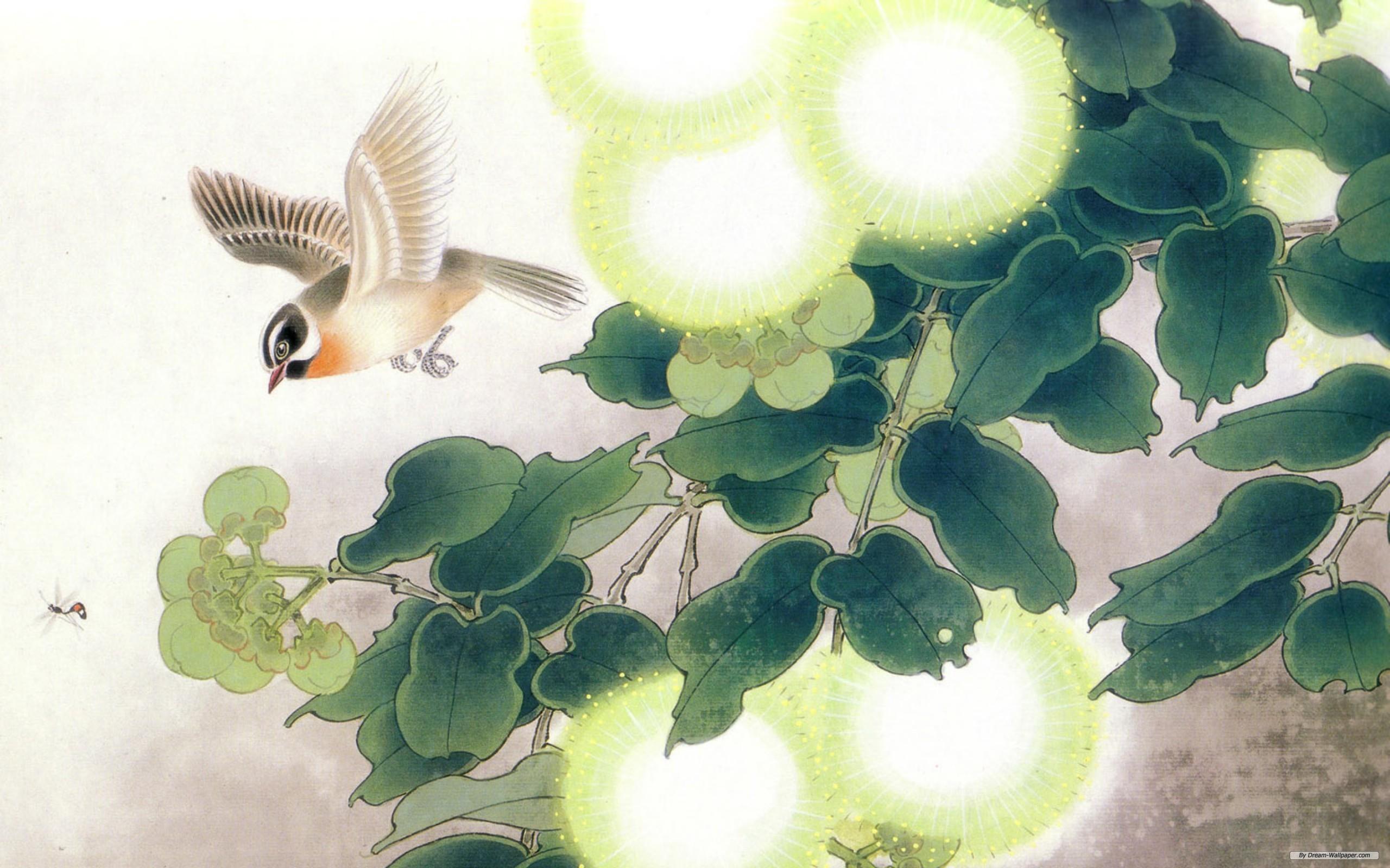 Art Wallpaper Flowers And Birds 2560x1600 2560x1600