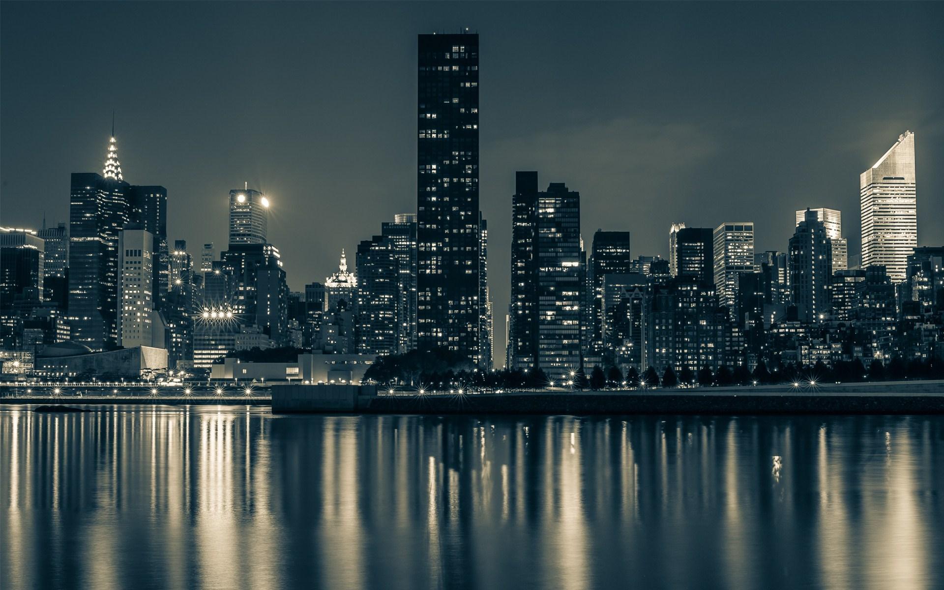 Home City HD Wallpapers Manhattan City New York Light River 1920x1200