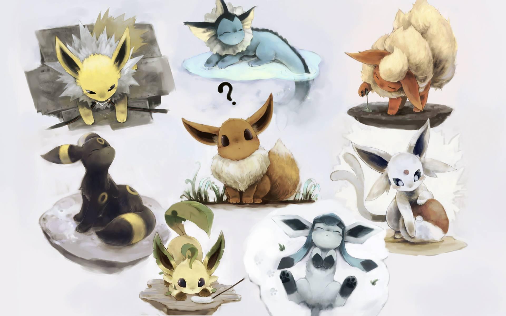 Pokemon Shiny Eevee Wallpaper Eevees evolutions 1920x1200