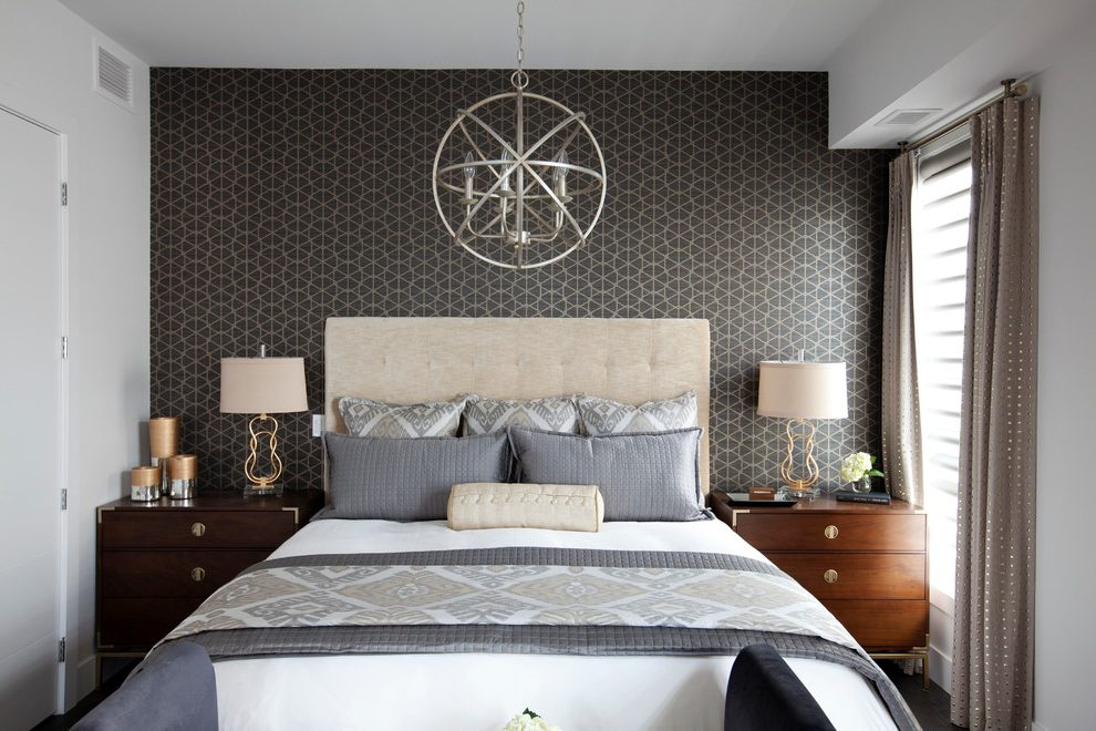 Wallpaper Behind Bed Bedroom Transitional With Upholstered 990x660