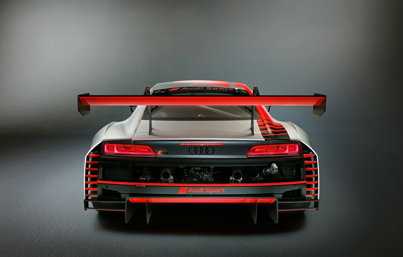 Wallpaper racing car Audi R8 rear view LMS 2019 images for 1332x850