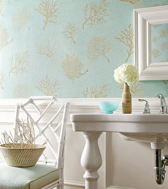 Turquoise and Gold Wallpaper Traditional bathroom Thibaut Design 550x620