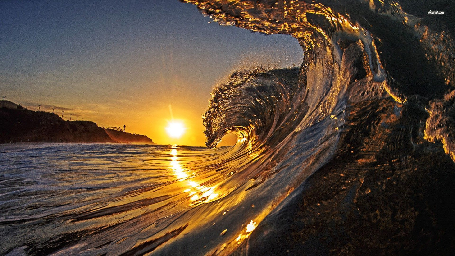 Wave in the sunset wallpaper   Beach wallpapers   17700 1920x1080