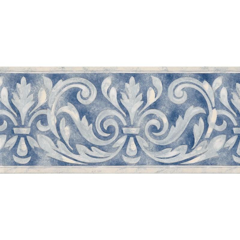 Home Birchwood Traditional Scroll Blue Border by Brewster 7967 800x800