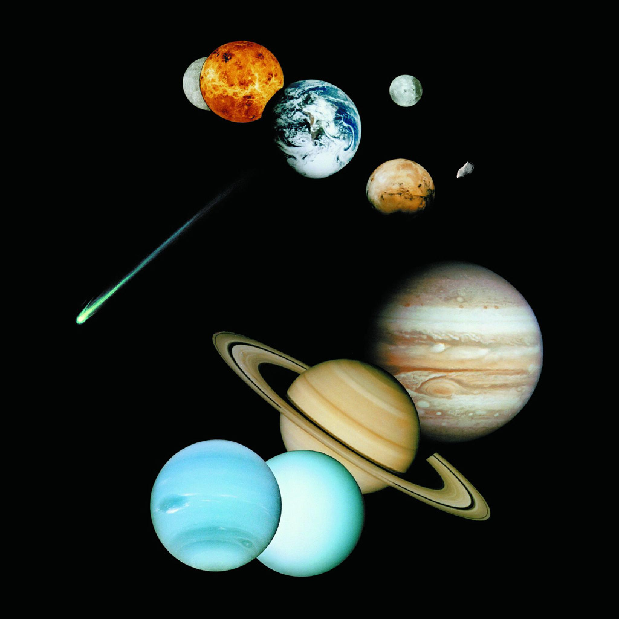 Nine Planets Solar System And Comets   iPad iPhone HD Wallpaper 2048x2048