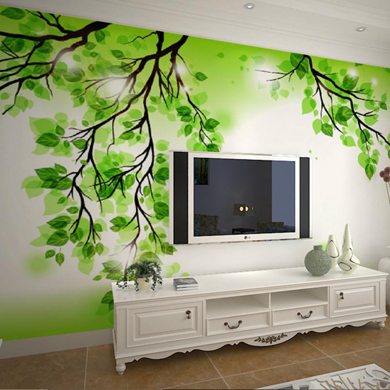 wallpaper murals living room bedroom sofa TV backdrop wallpaper green 800x800