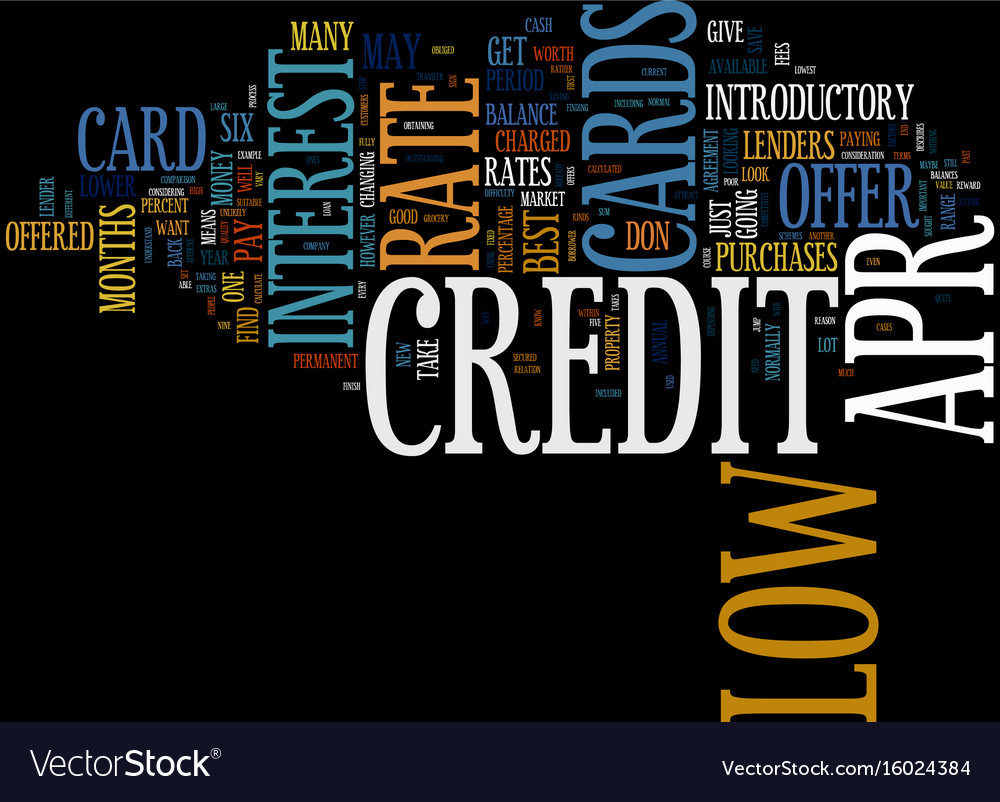 Find the best low apr credit card text background Vector Image 1000x802