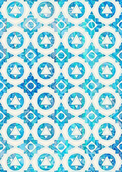 Aqua Blue Off White Geometric Pattern Art Print by micklyn 400x566