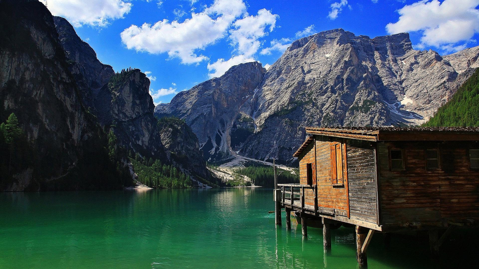 Stilt cabin on a mountain lake wallpaper   747350 1920x1080