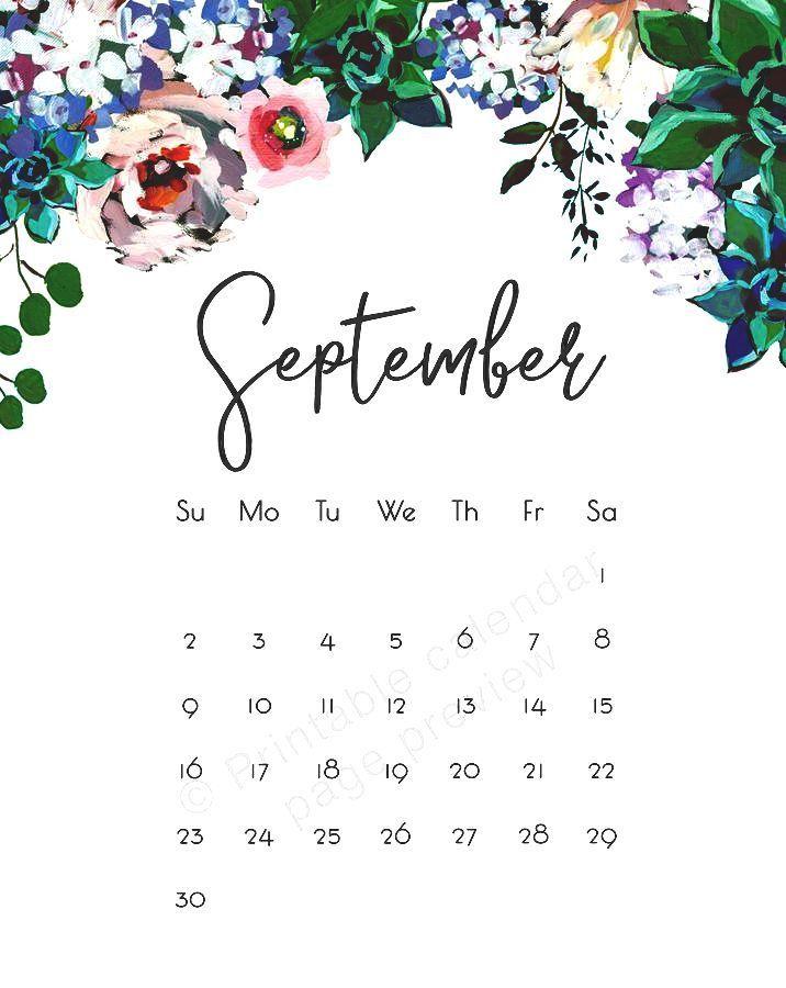 September 2019 Desktop Calendar Wallpaper HD Floral Design 716x900