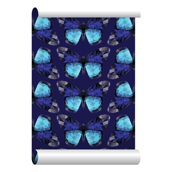 Self adhesive Removable Wallpaper Diamond Butterfly Wallpaper Peel 570x570