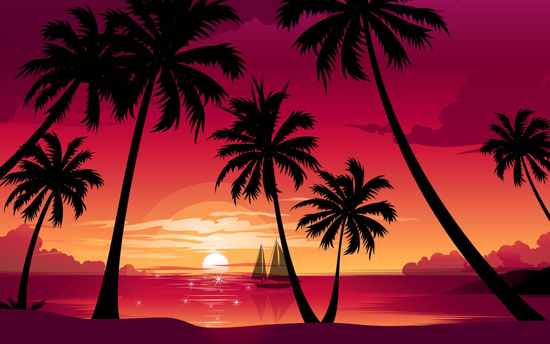 palm trees Wallpaper tags Nature beach sea boat sun sunset 1920x1200