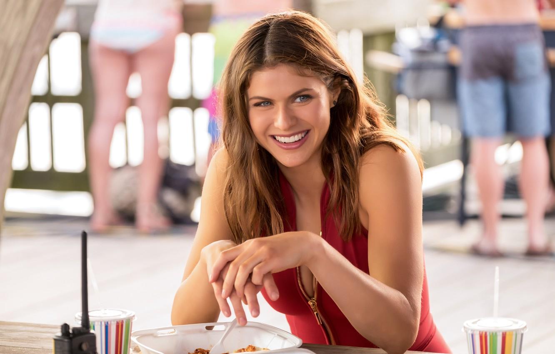Wallpaper pose smile street food Alexandra Daddario Alexandra 1332x850