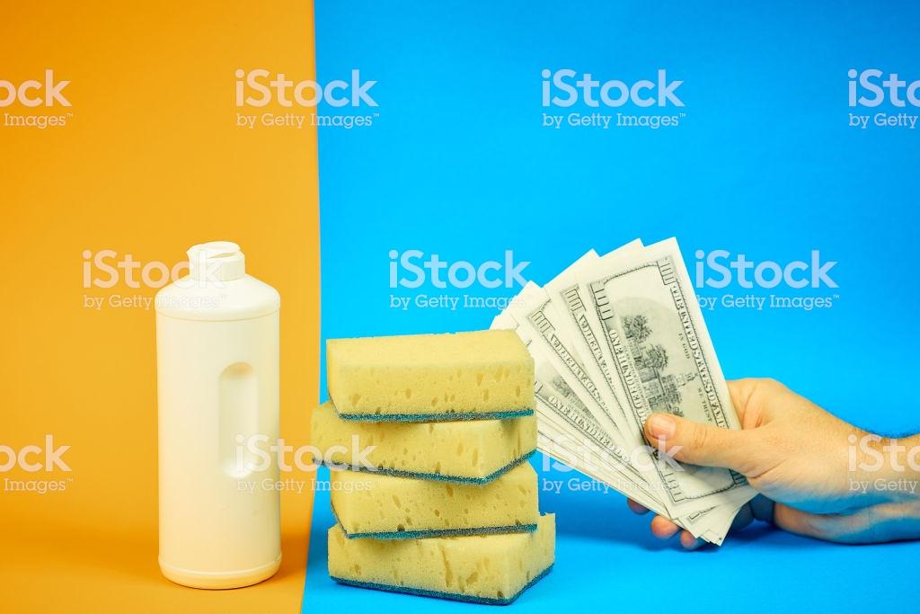 Dishwashing Detergent Sponges Money On Colored Background Homework 1024x683