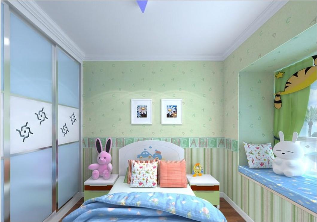 Light green letter wallpaper decor children bedroom 1060x742