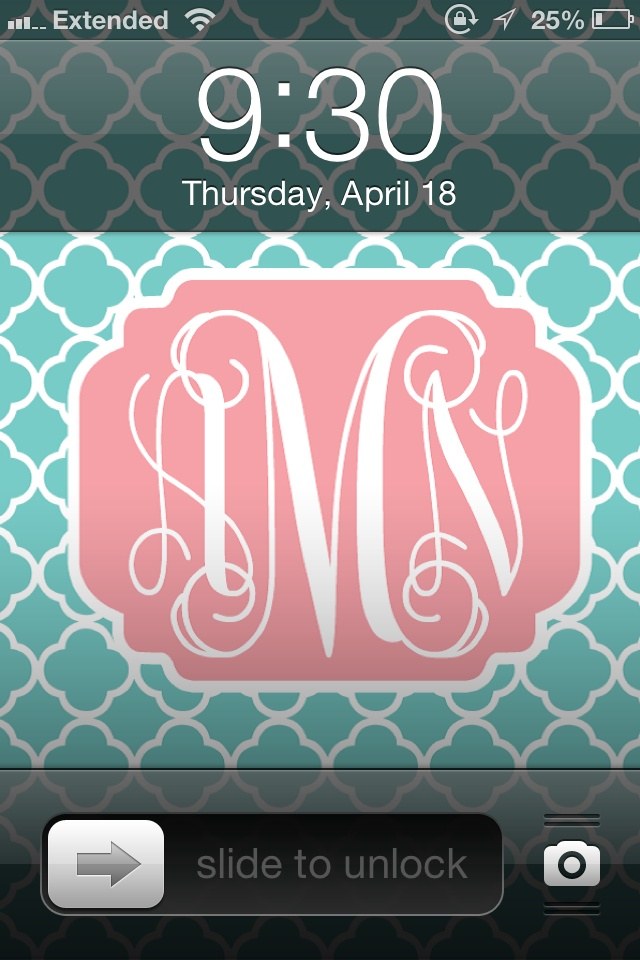 Make your own monogrammed wallpapers 640x960