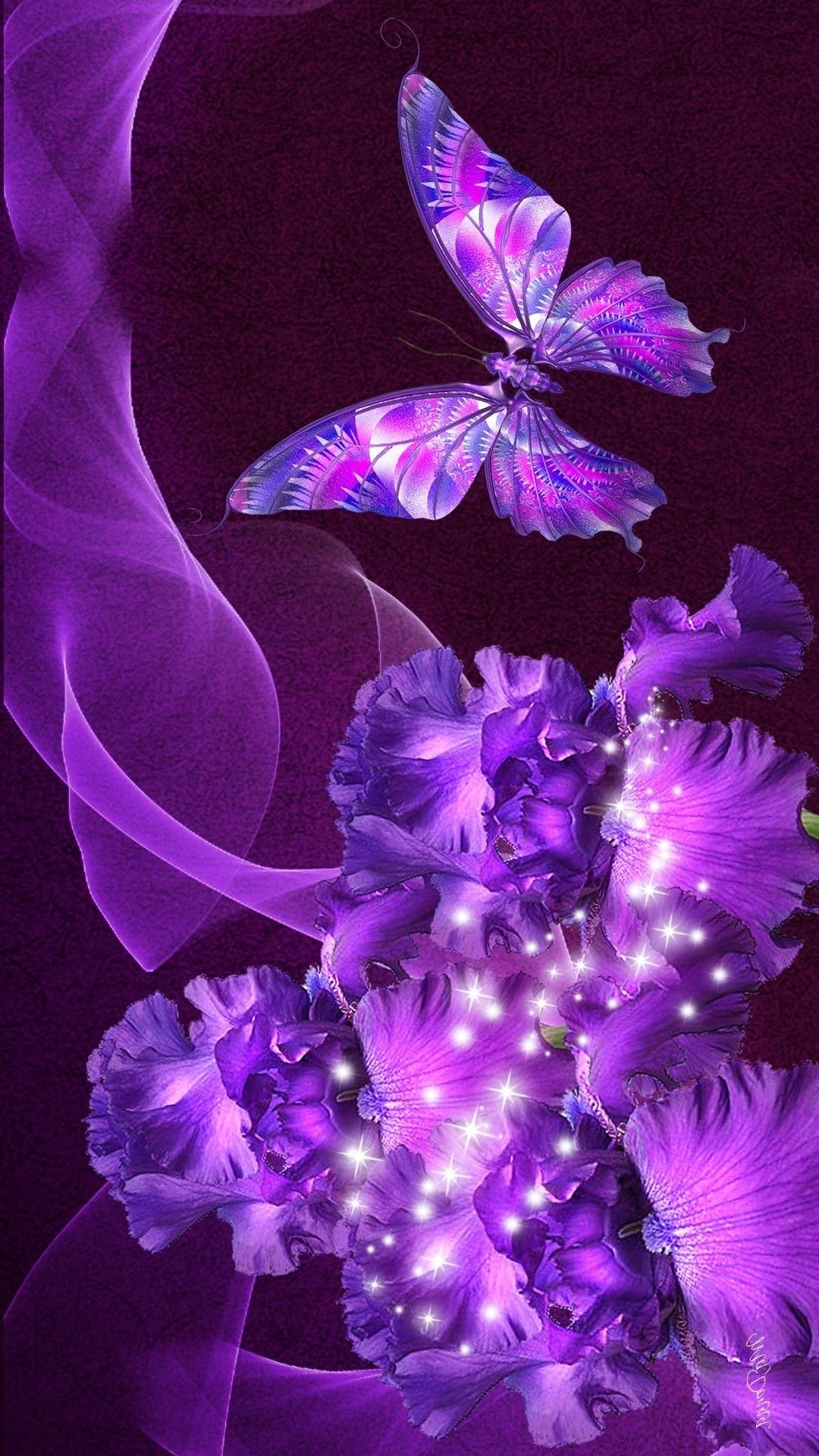 Wallpaper Purple Butterfly Mobile Best HD Wallpapers 1080x1920