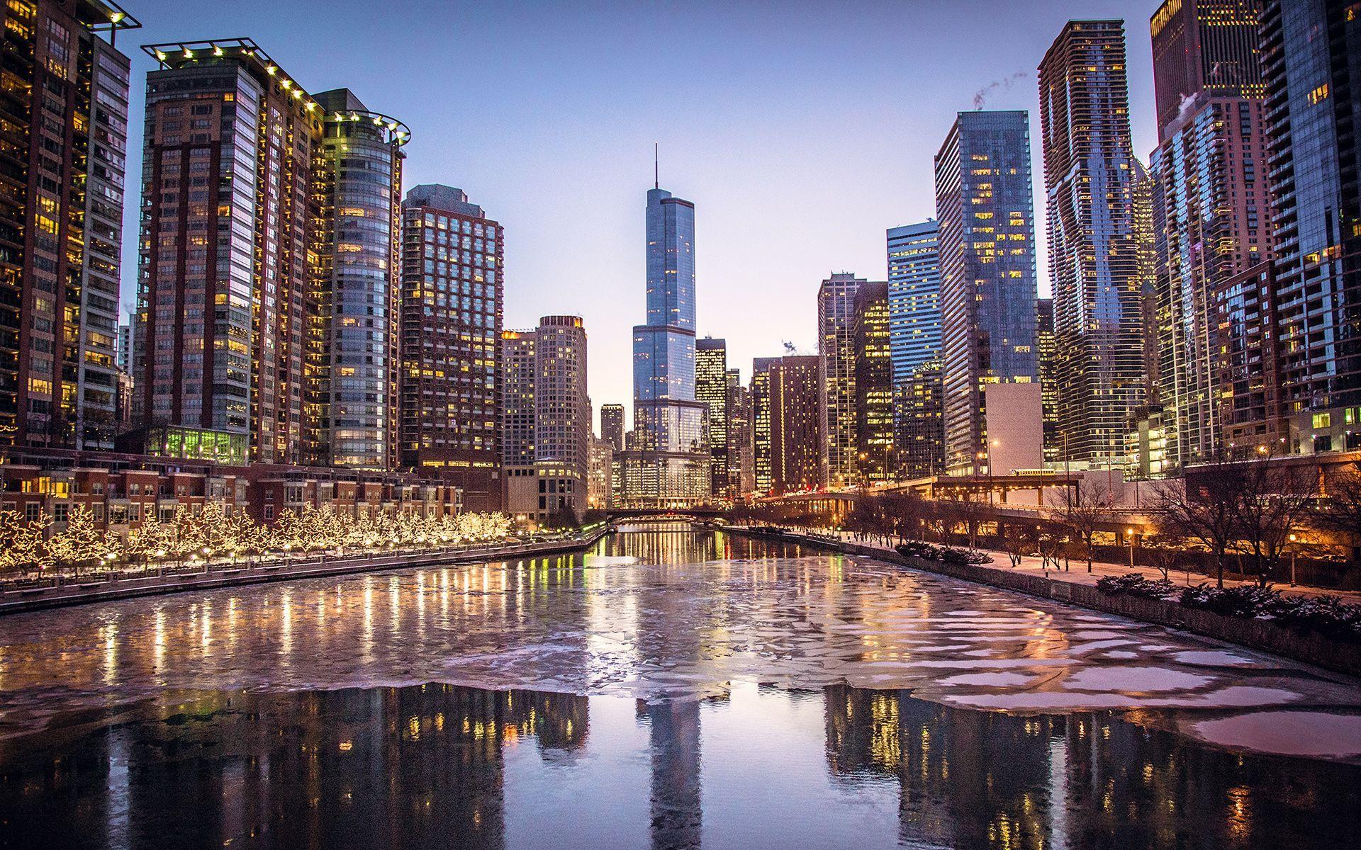 Ночной порт в Чикаго  № 3504438 загрузить