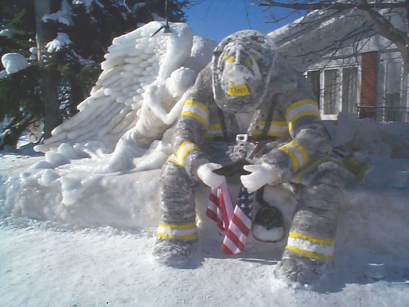 TROY FIRE DEPARTMENT   ICE FIREMAN SCULPTURE 800x600