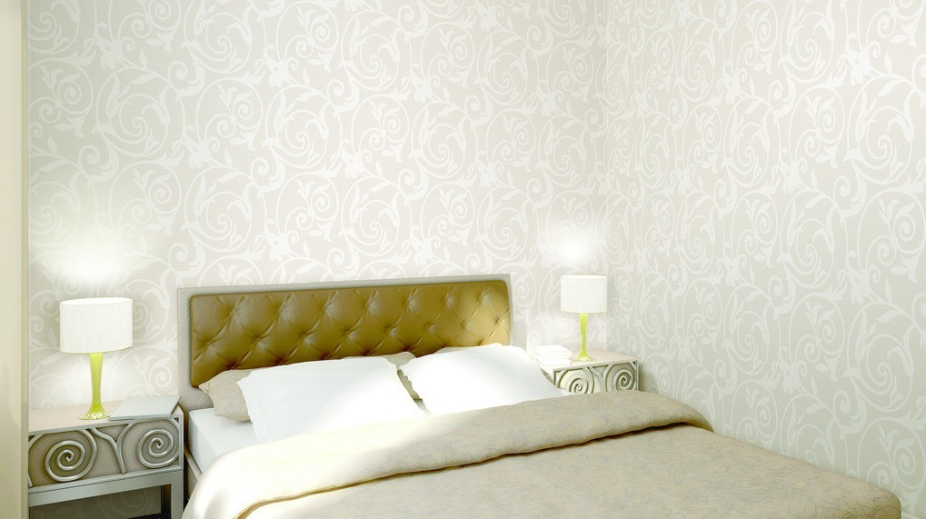 White pattern wallpaper the bedroom interior design 3D 1019x571