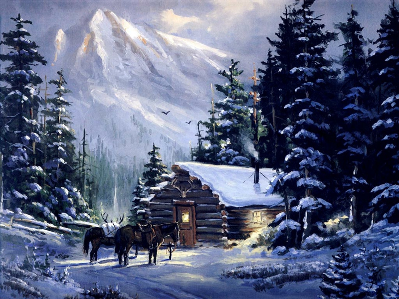Mountain Cabin Snow Painting 800x600