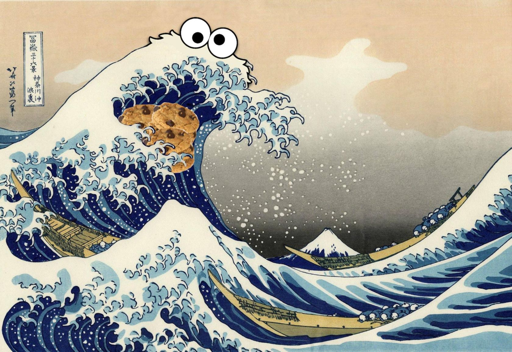 Traditional Japanese Painting Cookie Monster Wallpaper 1800x1241 1680x1158