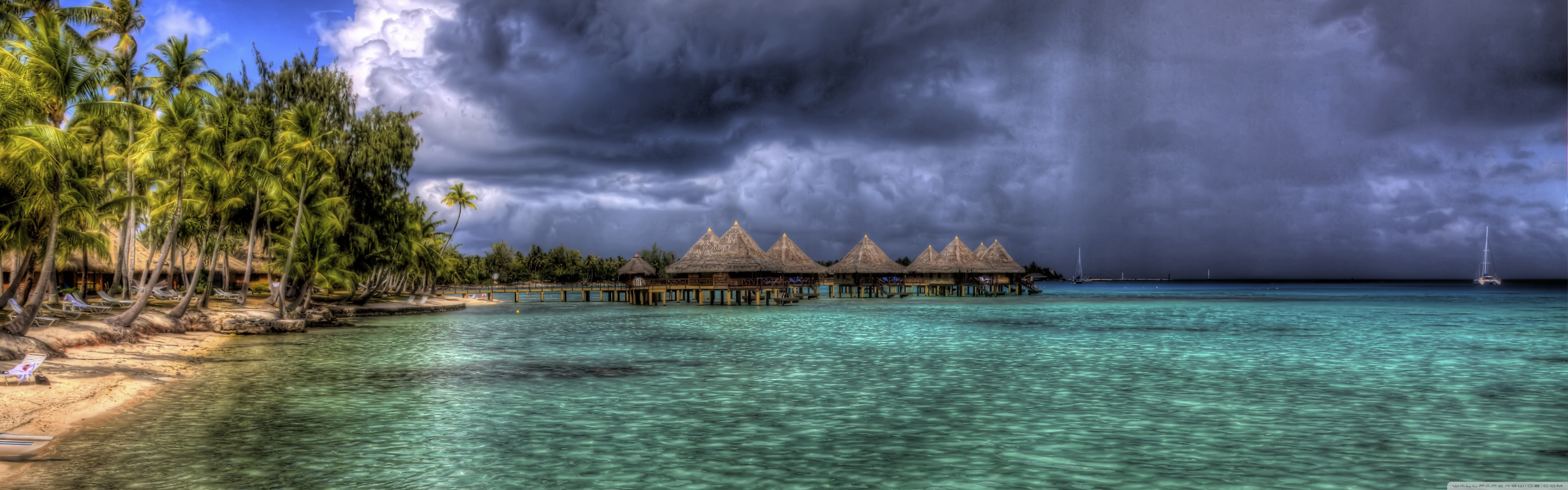 Water Bungalows HDR 4K HD Desktop Wallpaper for Dual Monitor 5120x1600