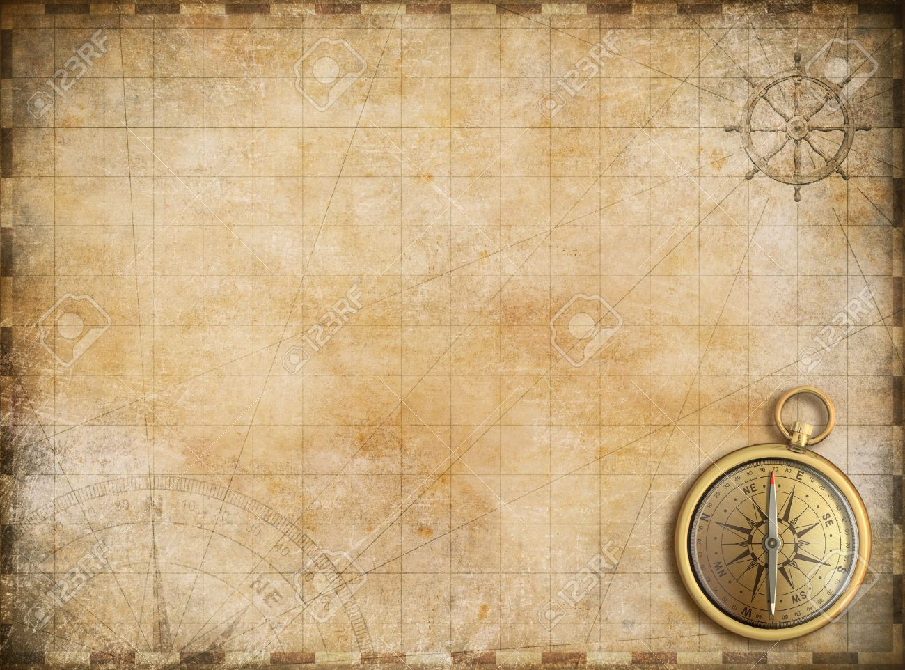 Old Map With Brass Compass As Exploration And Adventure Background 1300x962