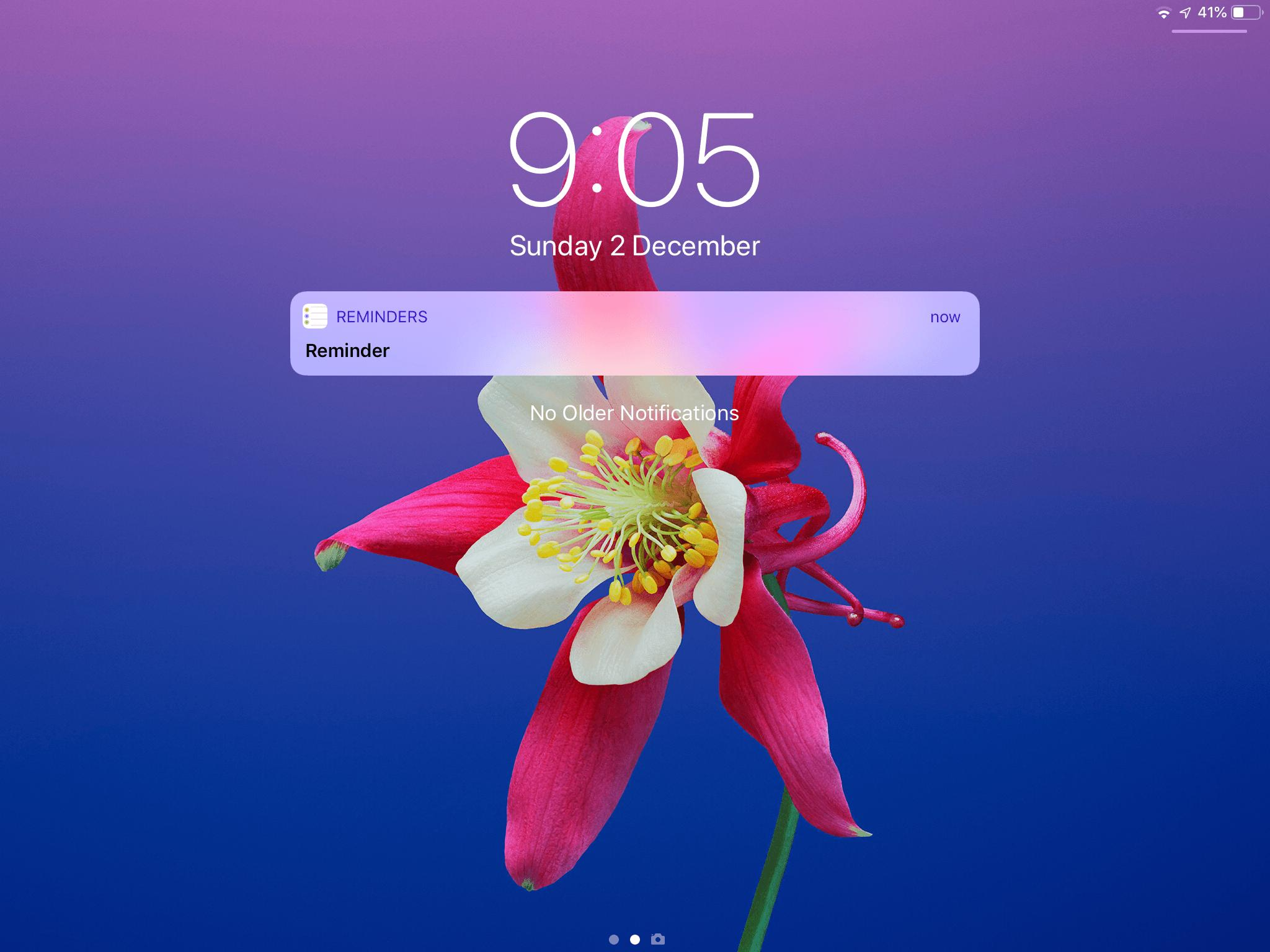 How can I make reminders show on the lock screen on iOS 1201 2048x1536