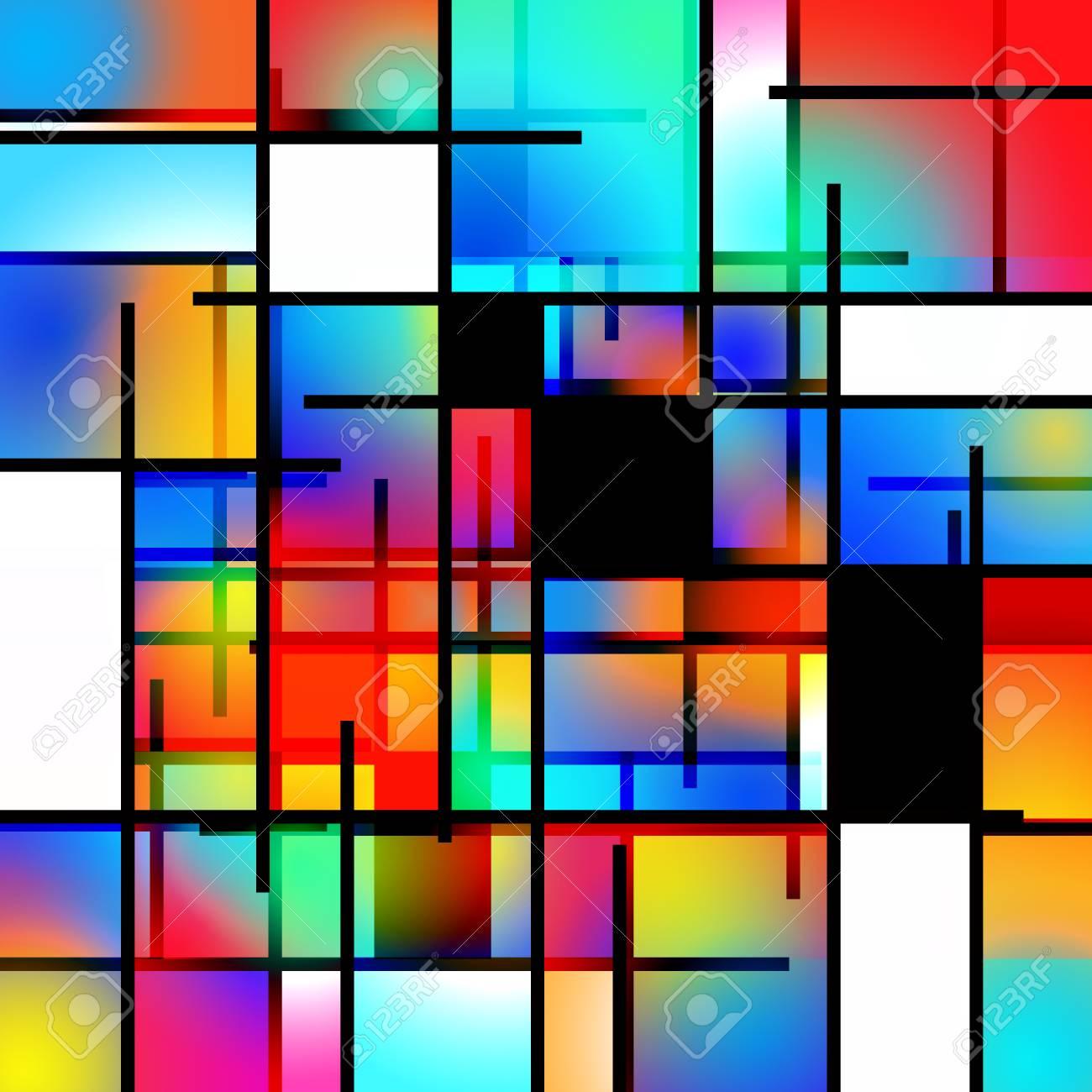Colorful Geometric Background Mondrian Inspired Stock Photo 1300x1300