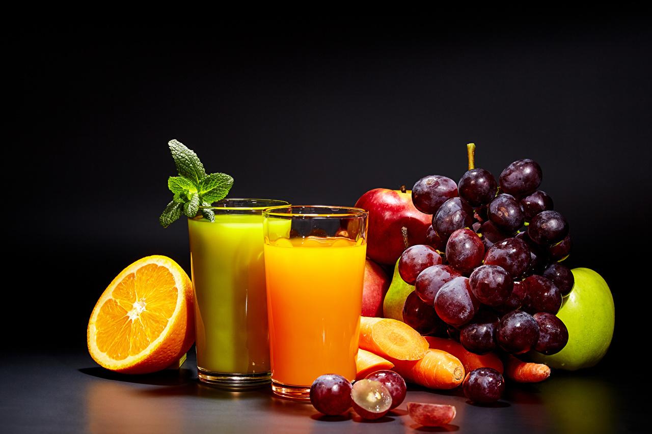Wallpapers Juice Orange fruit Grapes Highball glass Food Fruit Black 1280x853