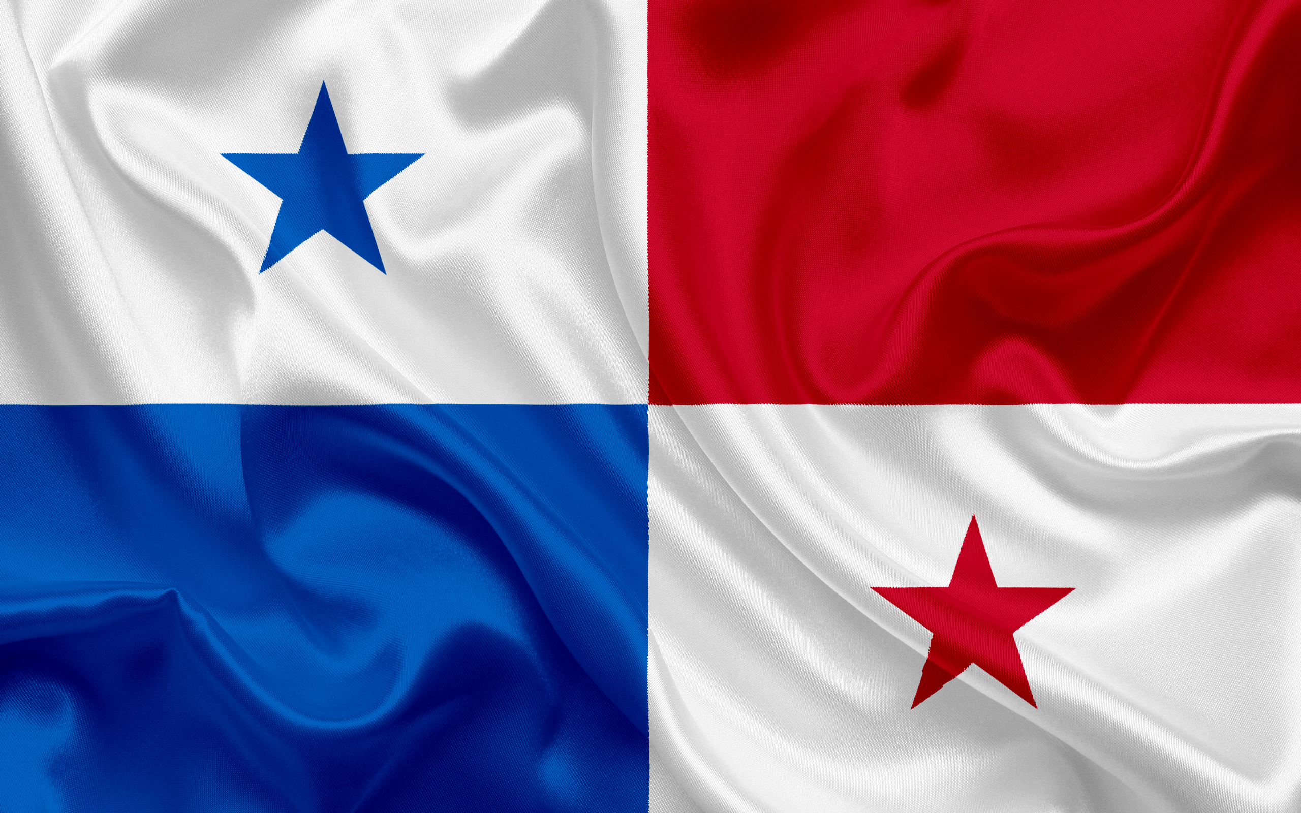 Download wallpapers Panama flag Panama silk flag national 2560x1600