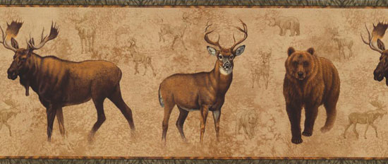 Wallpaper Border   Bear Moose Elk NM6633B 550x232