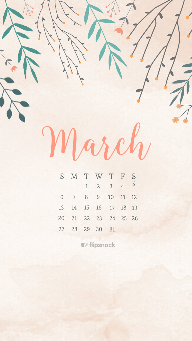March 2016 calendar wallpaper desktop background 640x1136