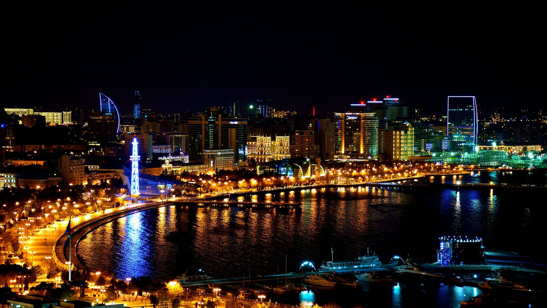 Night City View of Azerbaijan Baku Wallpaper   Wallpaper Stream 1920x1080