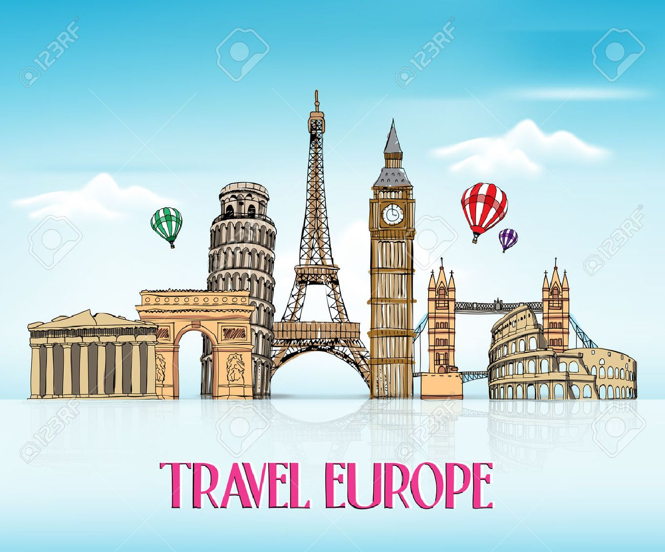 Travel Europe Hand Drawing With Famous Landmarks And Places In 1300x1079