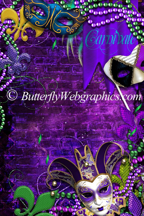 Electric Mardi Gras Backgrounds ButterflyWebGraphics 600x900