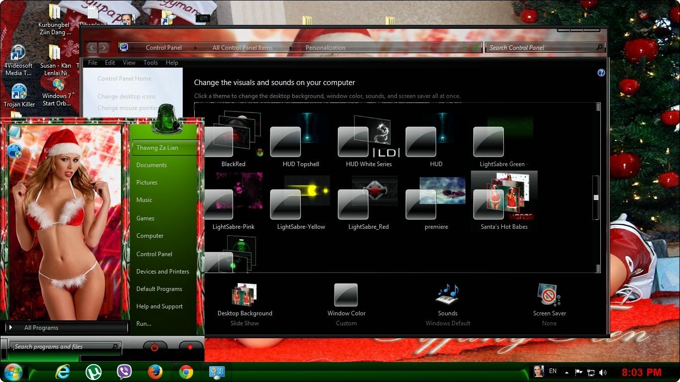 Hot Christmas Girls Windows 7 Theme 1366x768