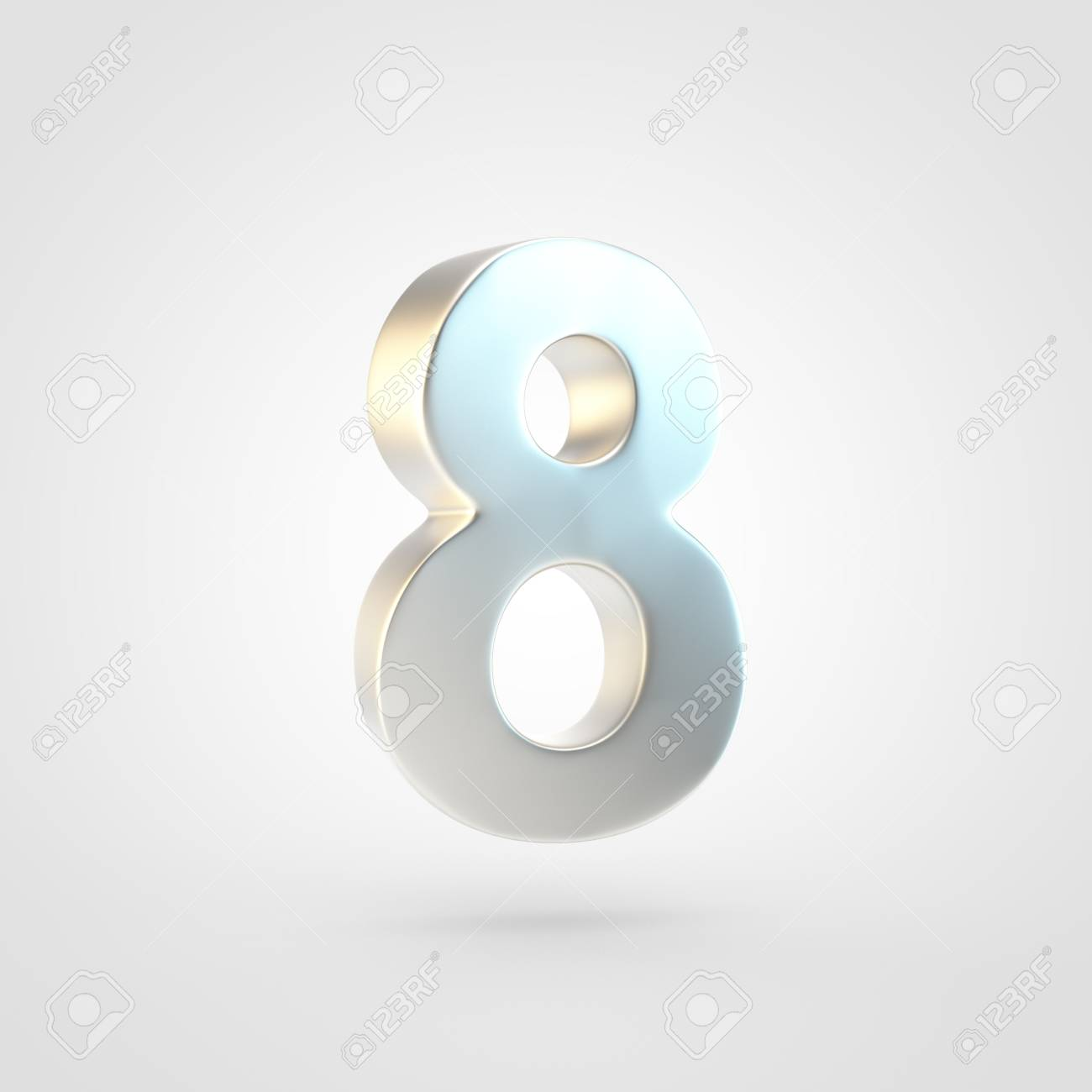 Silver Number 8 3D Rendering Of Matted Golden Font Isolated 1300x1300