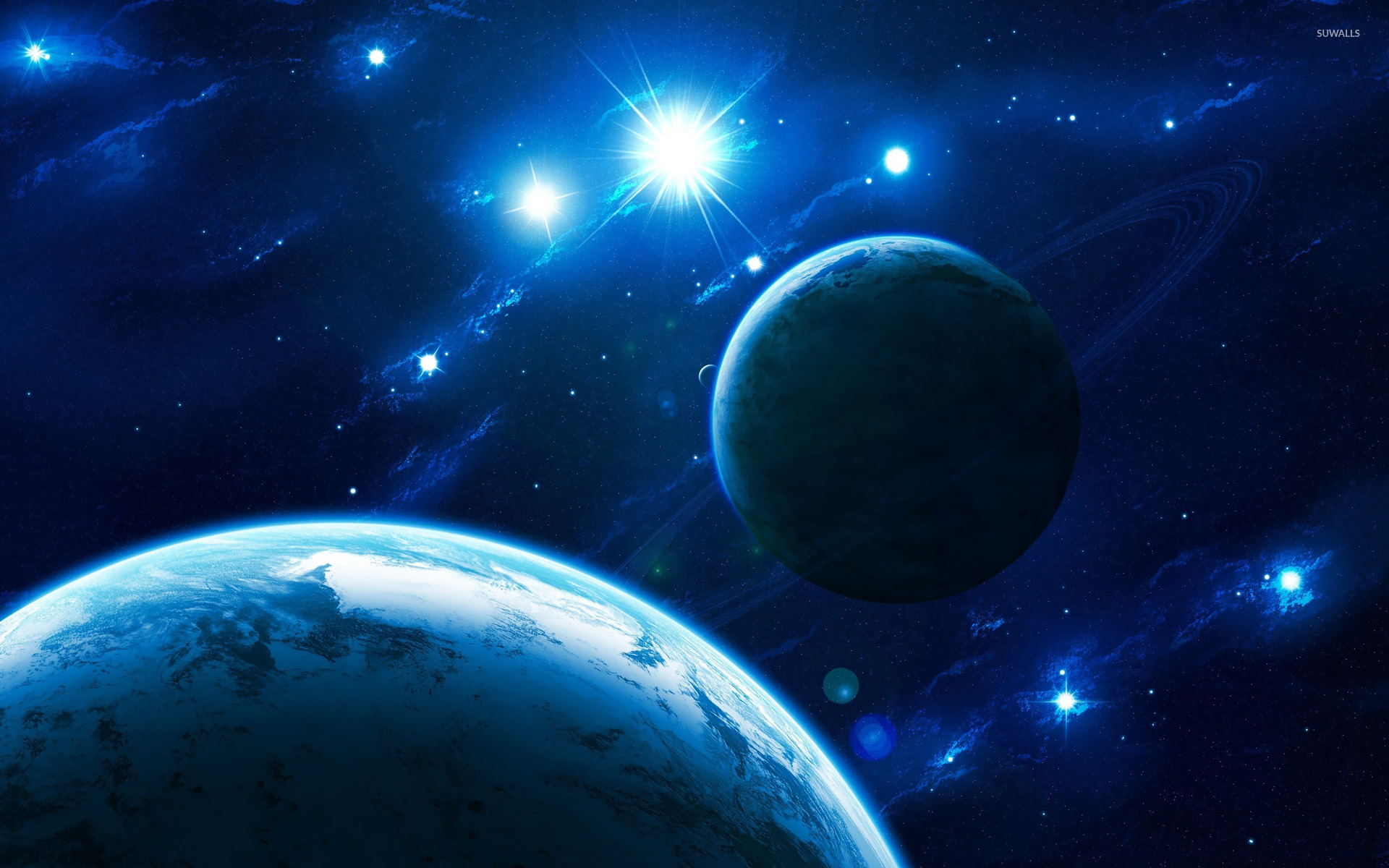 Blue light in space wallpaper   Space wallpapers   21864 1366x768