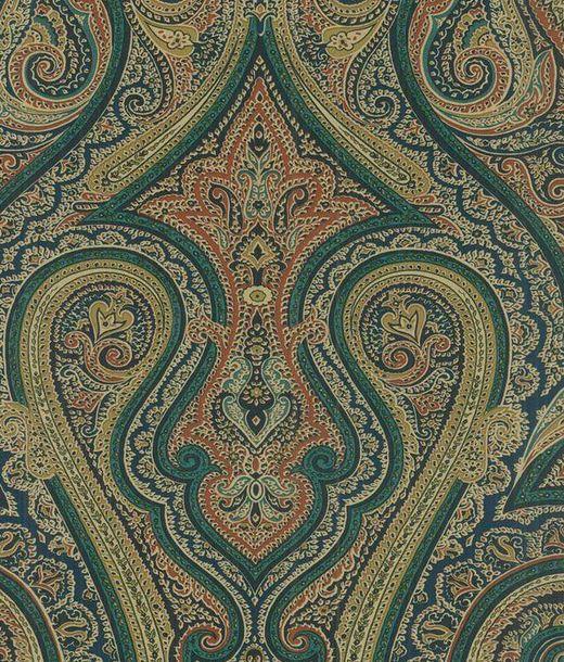 Navy Blue Paisley Damask   Scrolling Rust Green   Wallpaper 520x610